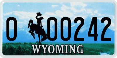 WY license plate 000242