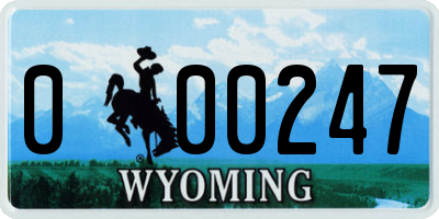 WY license plate 000247