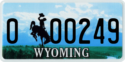 WY license plate 000249