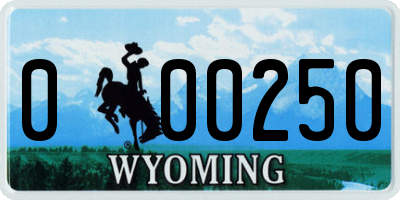 WY license plate 000250