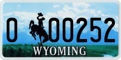 WY license plate 000252