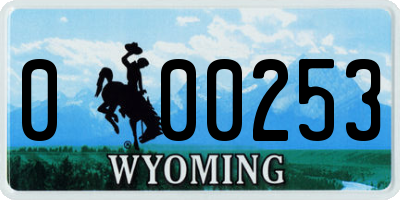 WY license plate 000253