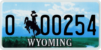 WY license plate 000254
