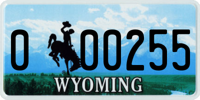 WY license plate 000255
