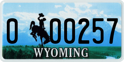 WY license plate 000257
