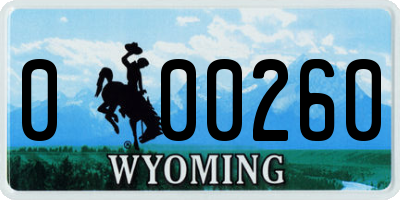 WY license plate 000260
