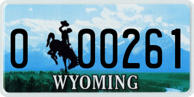 WY license plate 000261