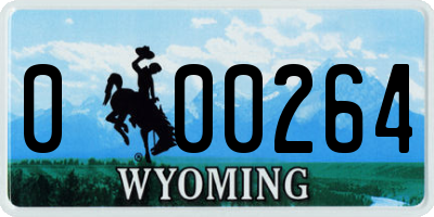 WY license plate 000264
