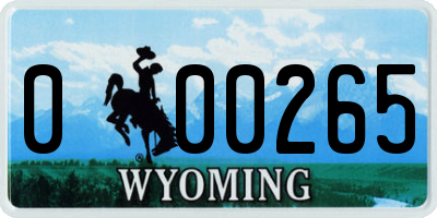 WY license plate 000265
