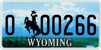 WY license plate 000266