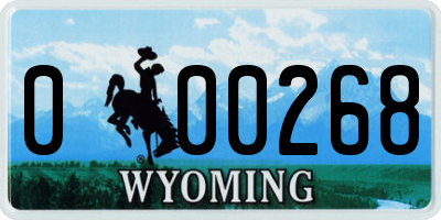 WY license plate 000268