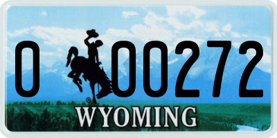 WY license plate 000272