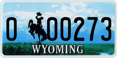 WY license plate 000273