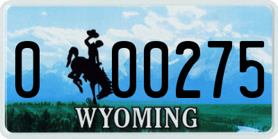 WY license plate 000275