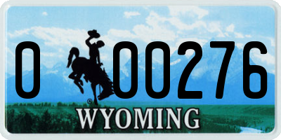 WY license plate 000276