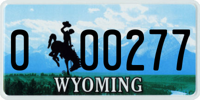 WY license plate 000277