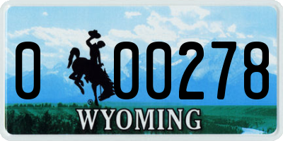 WY license plate 000278