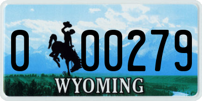 WY license plate 000279