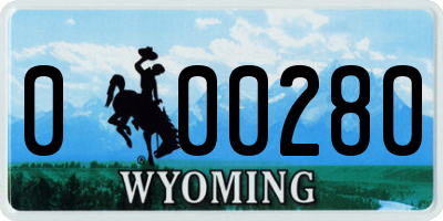 WY license plate 000280