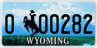 WY license plate 000282
