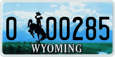 WY license plate 000285