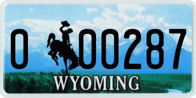 WY license plate 000287