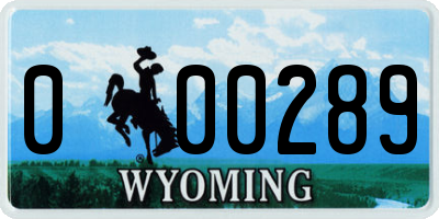 WY license plate 000289