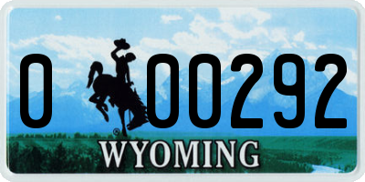 WY license plate 000292