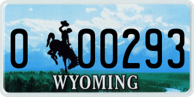 WY license plate 000293