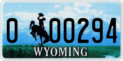 WY license plate 000294