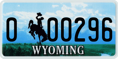 WY license plate 000296