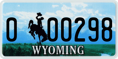 WY license plate 000298