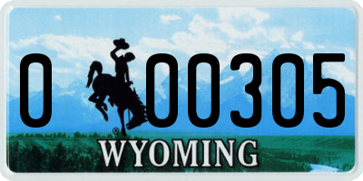 WY license plate 000305