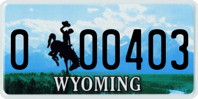 WY license plate 000403