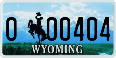 WY license plate 000404