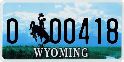 WY license plate 000418