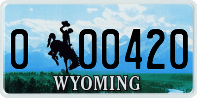 WY license plate 000420