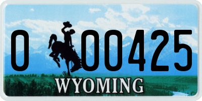 WY license plate 000425