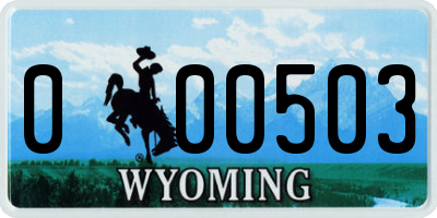 WY license plate 000503
