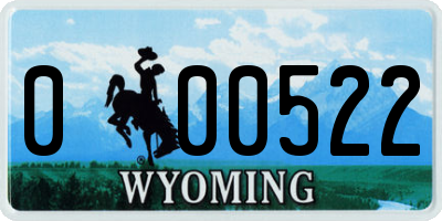 WY license plate 000522