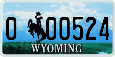 WY license plate 000524
