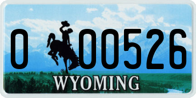 WY license plate 000526