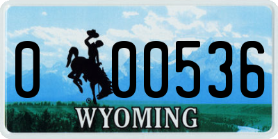 WY license plate 000536