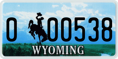 WY license plate 000538