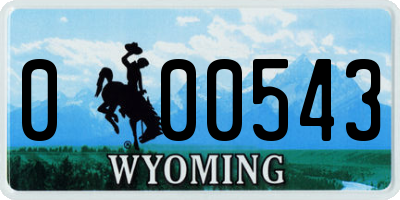 WY license plate 000543