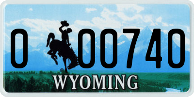 WY license plate 000740