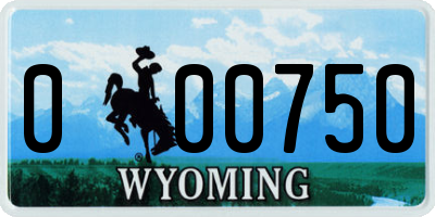 WY license plate 000750