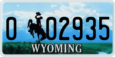 WY license plate 002935