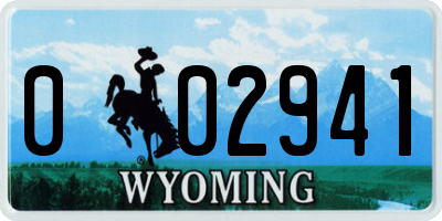 WY license plate 002941