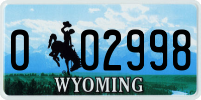 WY license plate 002998